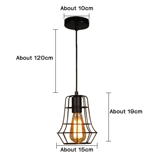 Modern Pendant Light Black Iron Hanging Cage Vintage Led Lamp - Deals You May Like