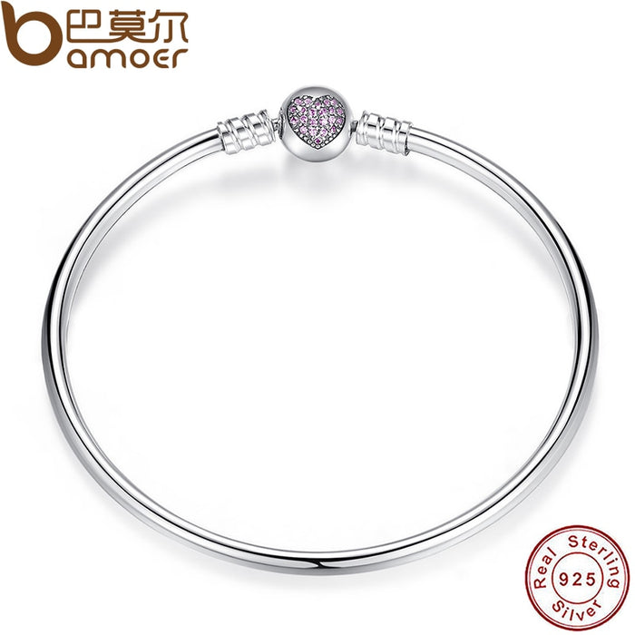 Sterling Silver Snake Chain Heart Bangle & Bracelet Luxury Jewelry - Deals You May Like