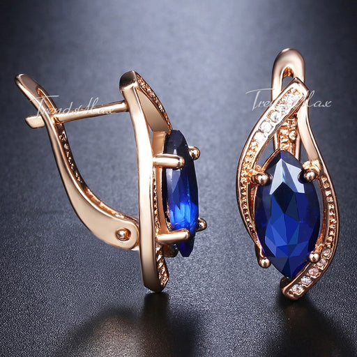 Blue Stone Stud Earrings For Women | Gold Filled Round Leaf Earrings - Deals You May Like