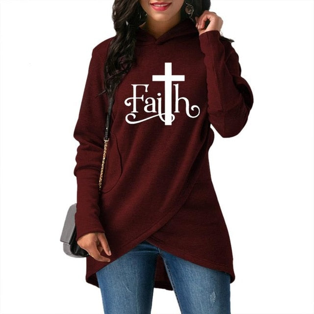 High-Quality Large Size Faith Print Sweatshirt, Women Hoodies - Deals You May Like