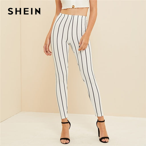 Casual White High Waist Leggings - Deals You May Like