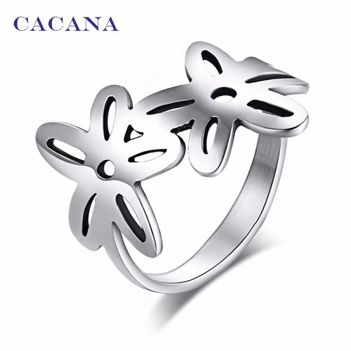 Titanium Stainless Steel Rings With Double Flower