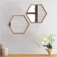 "Load image into Gallery viewer, Decorative Hexagonal Shape Golden Wall Mirror for Living Room Size- 12"" x 13.5"" Inch"