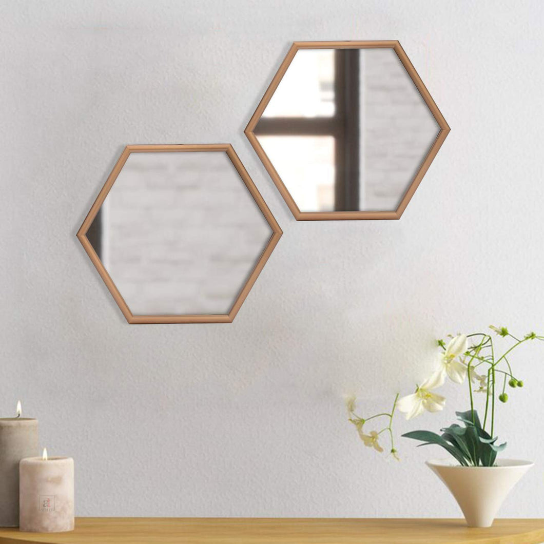 Decorative Hexagonal Shape Golden Wall Mirror for Living Room Size- 12