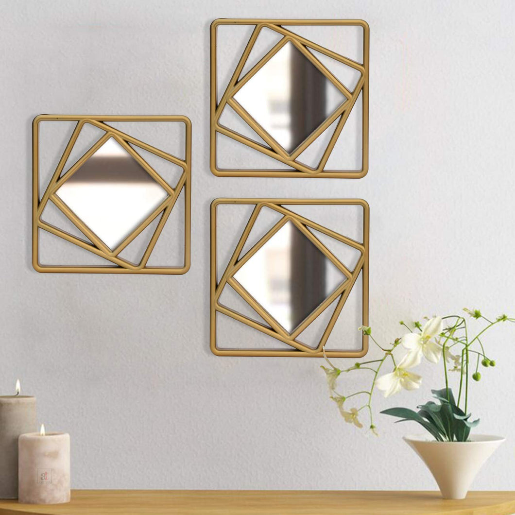 Set Of 3 Golden Square Shape Decorative Wall Mirror For Home Decoration Size-10