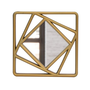 "Set Of 3 Golden Square Shape Decorative Wall Mirror For Home Decoration Size-10"" x 10"" Inch"