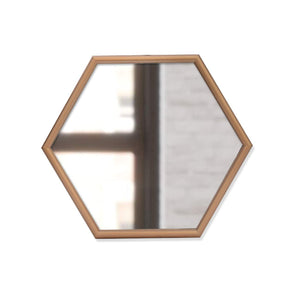 "Decorative Hexagonal Shape Golden Wall Mirror for Living Room Size- 12"" x 13.5"" Inch"
