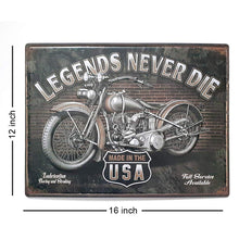 Load image into Gallery viewer, Legends Never DIE Motorcycle USA Poster Metal Plaques Tin Sign