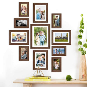 Set Of 11 Brown Wall Photo Frame, For Home Decor With Free Hanging Accessories