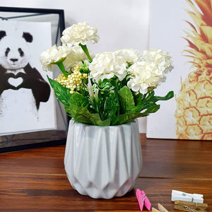 White Color Artificial Flower Plant With Grey Vase, Perfect For Home & Office Decor - Size - 8 x 5 Inch