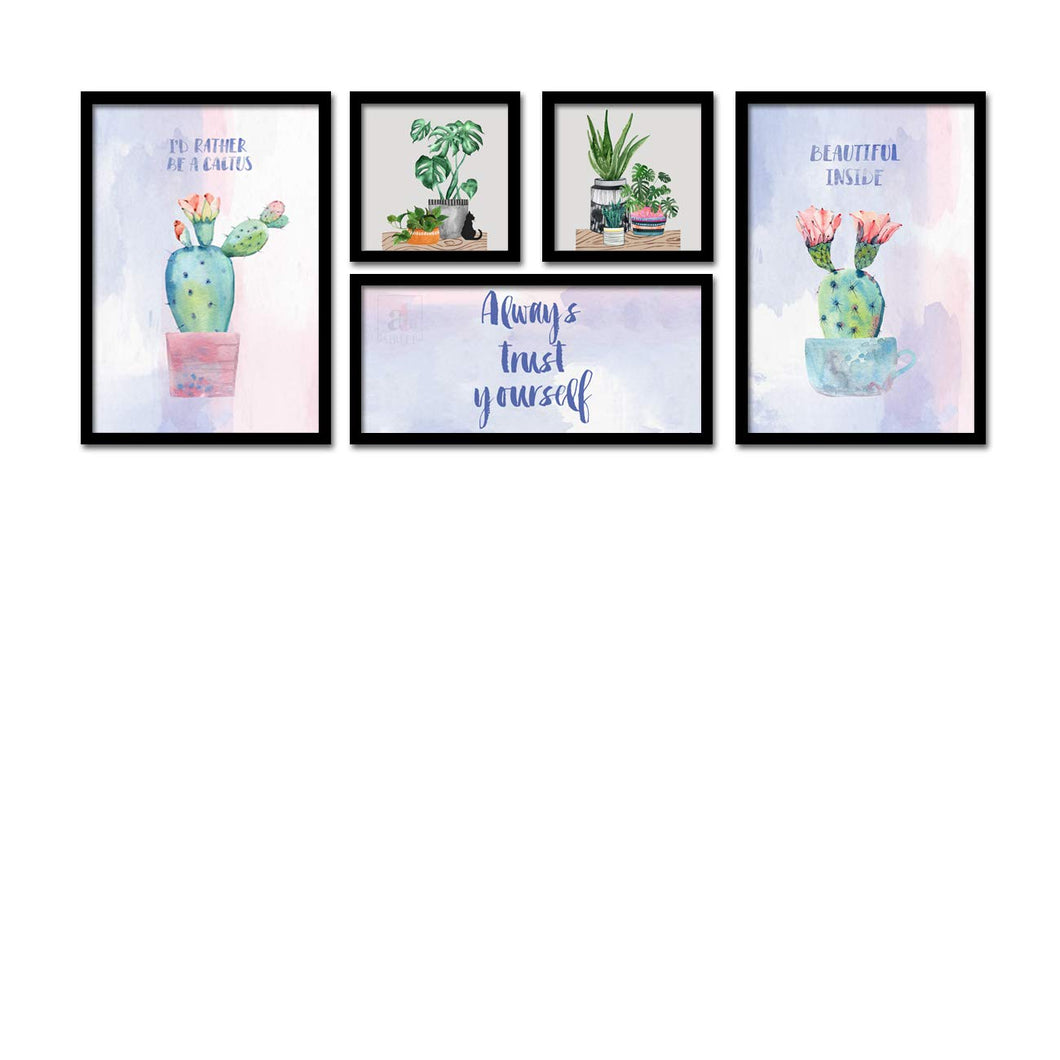 Set Of 5 Framed Poster Art Print -Always Trust Yourself - Plant Art Print-Multicolored, Art Print For Living Room