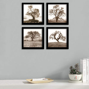 "Tree Sketch Set Of 4 Framed Art Print Size - 9"" x 9"" Inch"