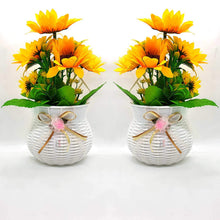 Load image into Gallery viewer, Artificial Sun Flower Plant Set of 2  With Pot For Wall Hanging.
