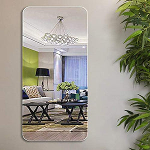 Modern Frame-Less Glass Mirror For Home & Office Decor Size - 17.5 x 35.5 Inches