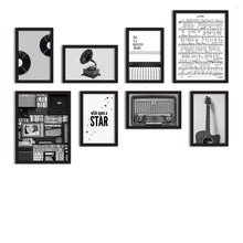 Load image into Gallery viewer, Set Of 8 Framed Poster Art Print -Wish Upon A Star -Music Notes, Art Print For Living Room