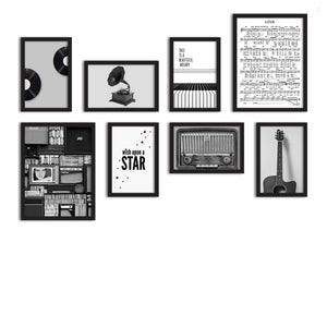 Set Of 8 Framed Poster Art Print -Wish Upon A Star -Music Notes, Art Print For Living Room