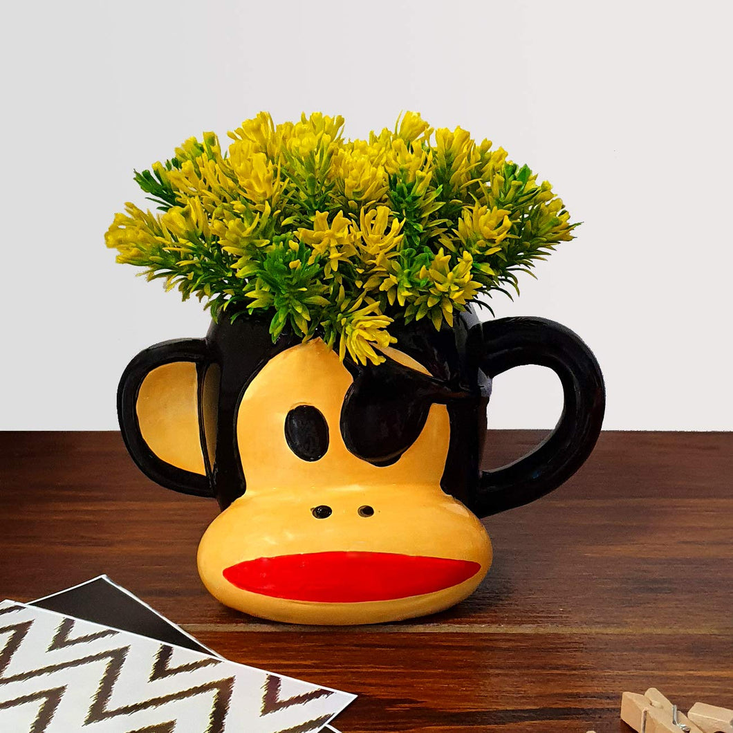 Yellow Color Multi-Head Artificial Flower Plant With Cute Cartoon Monkey Design With Pot, Perfect For Home & Office Decor Size - 6 x 7 Inch