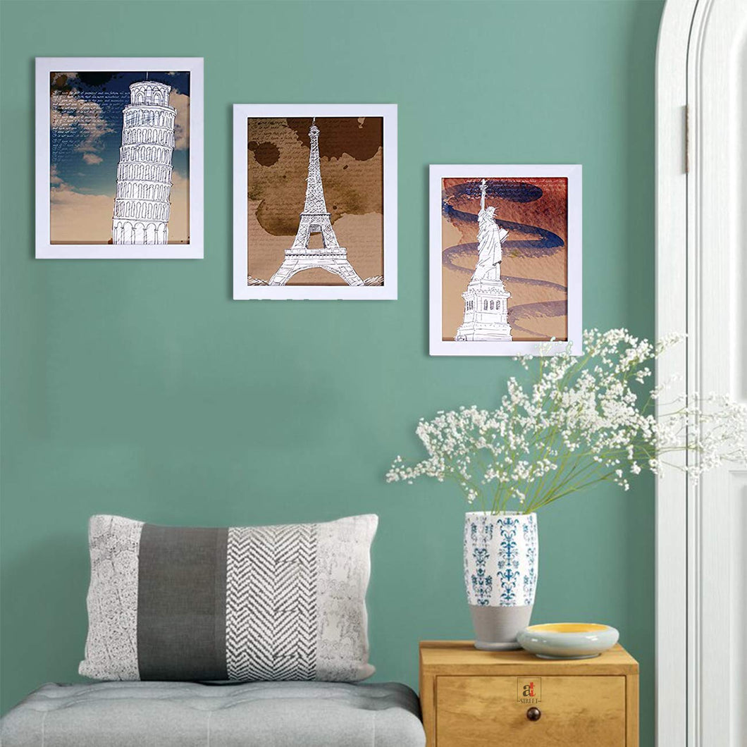 Wanderlust Monuments Set Of 3 White Framed Art Prints Size - 8 x 10 Inch