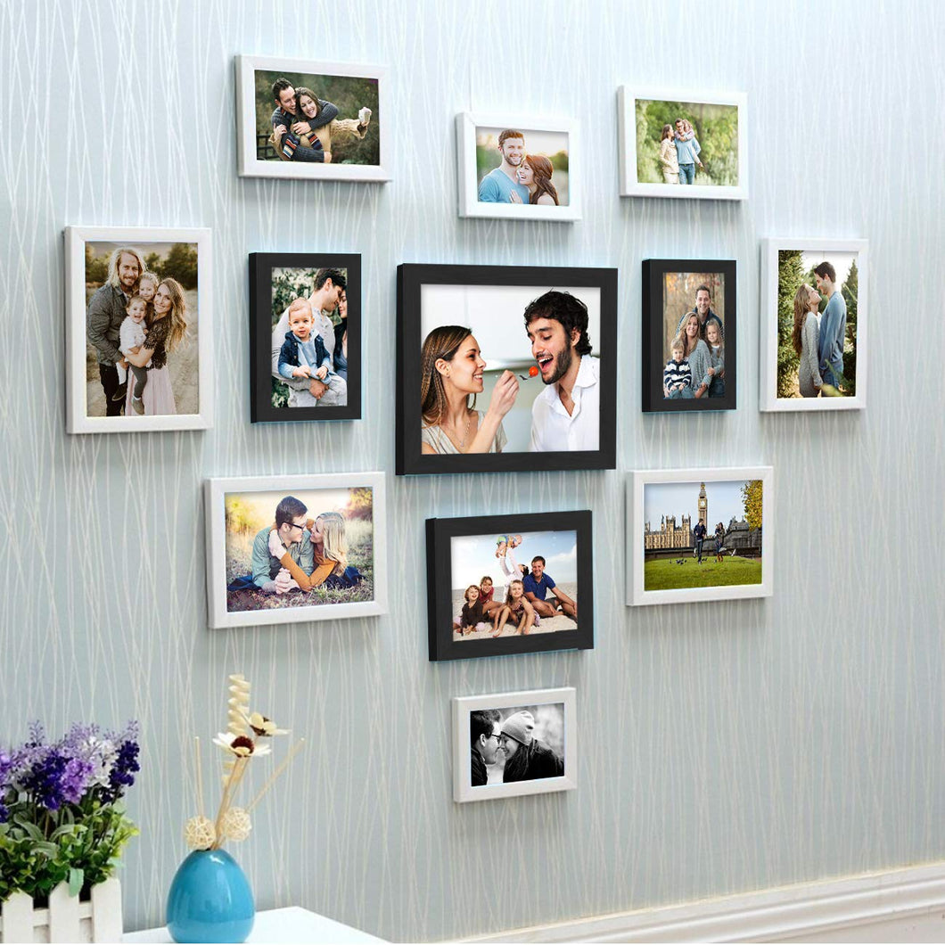 Set Of 12 Individual Wall Photo Frame, For Home Decor With Free Hanging Accessories