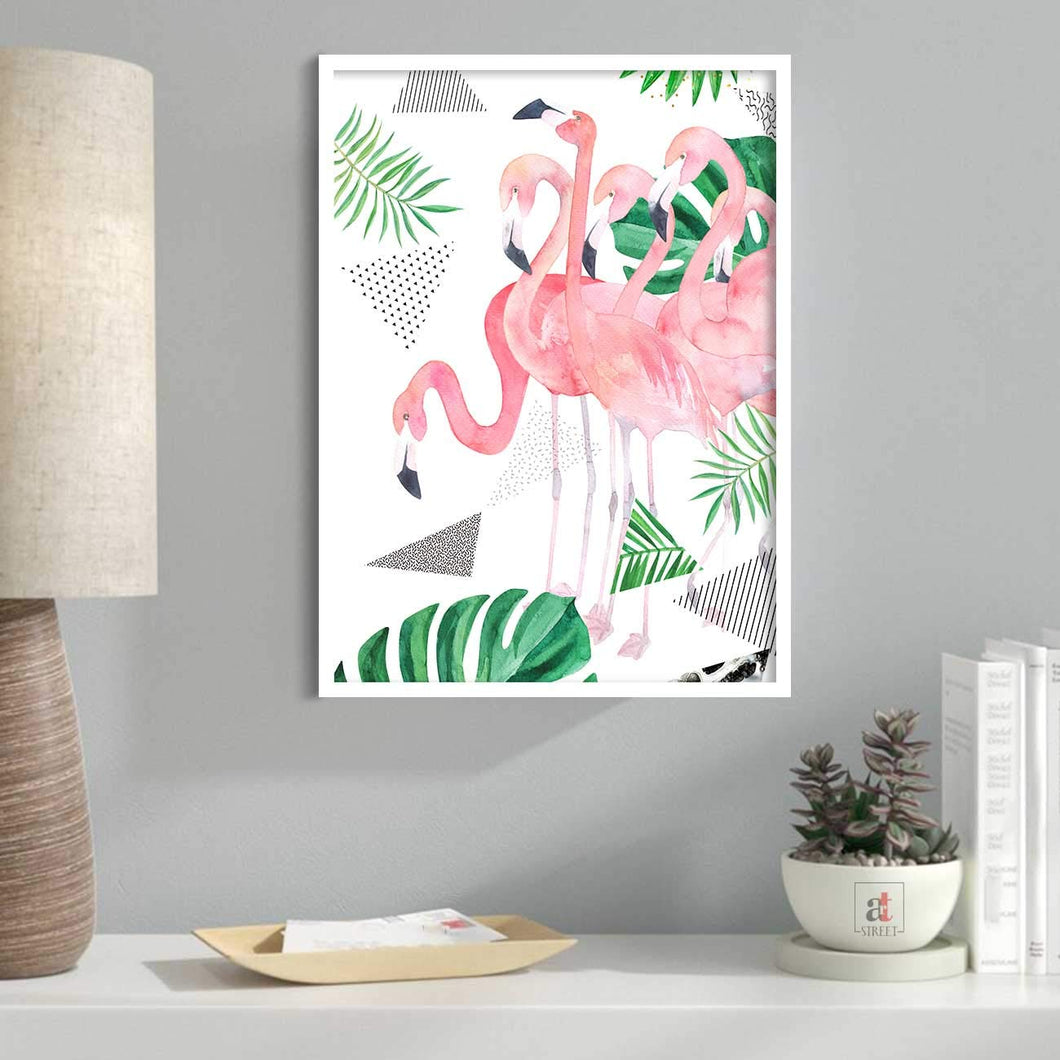 Flamingo Framed Canvas Art Print, Painting, Pink & Green, Size - 13 x 17 Inch