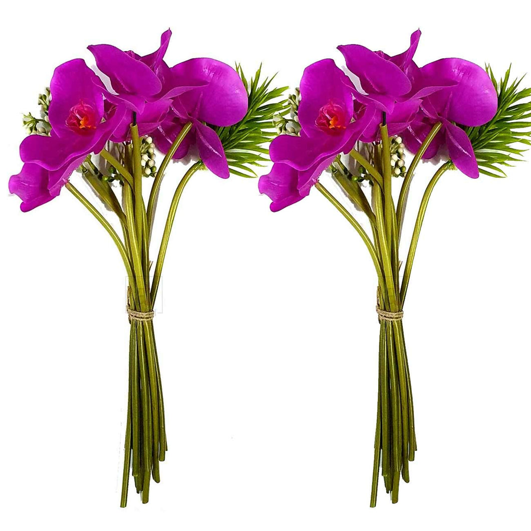 Set Of 2 Artificial 10 Head Purple Orchid Flowers With Stem Perfect For Home, Garden & Office Decorating