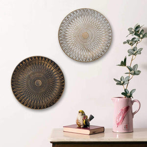 Black & White Color Set Of 2 MDF Decorative Wall Plates,Wall Decor Plates for Home & Office - Size-7.5 x 7.5 Inch
