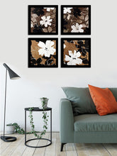 Load image into Gallery viewer, Flower Set Of 4 Black Framed Art Prints Size - 9 x 9 Inch