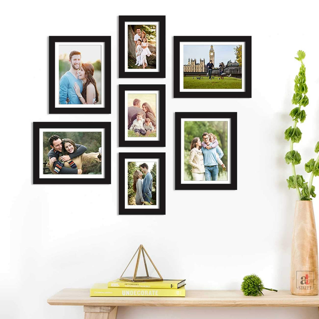 Set Of 7 Individual Black Wall Photo Frame, For Home Decor With Free Hanging Accessories