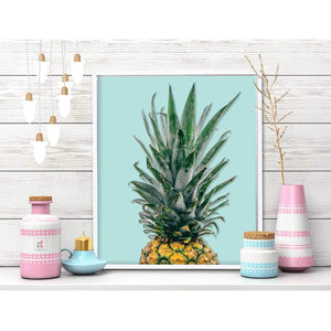 Pineapple Theme Framed Canvas Art Print, Painting -11 x 13 Inch
