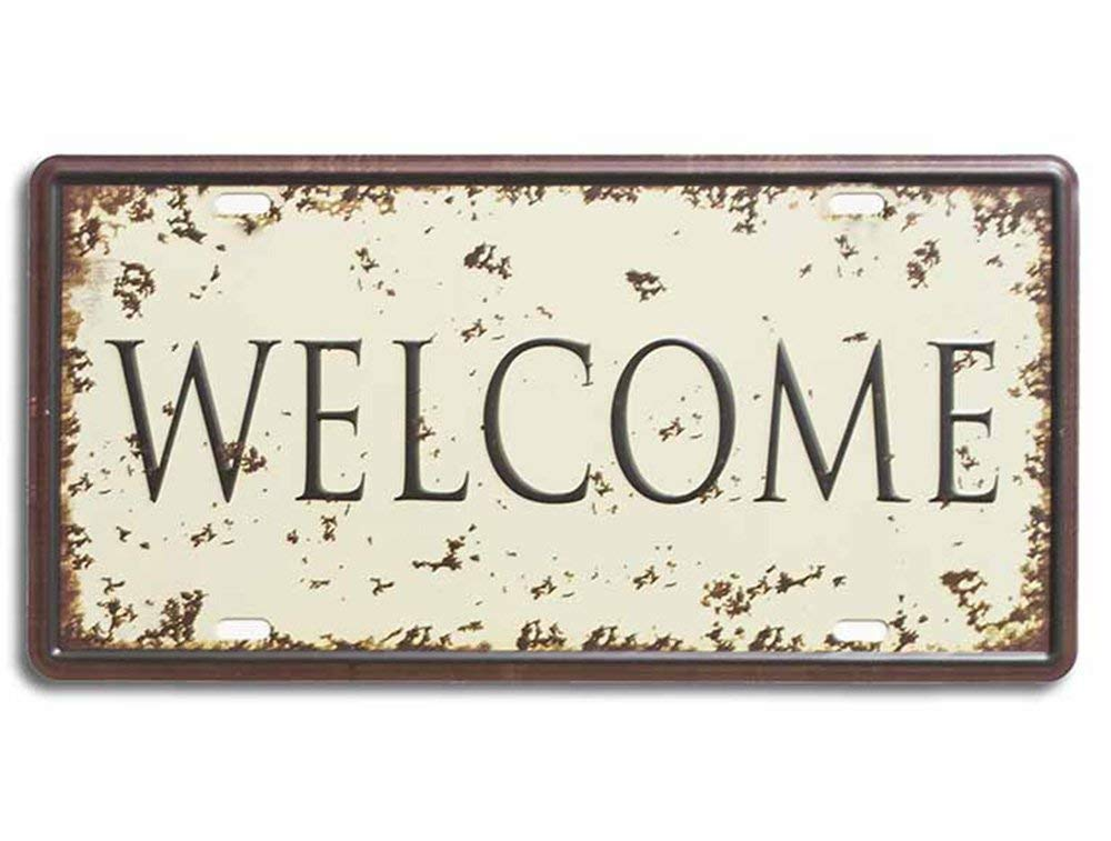 Metal Tin Sign Welcome With Printed Top, For Home & Cafe Decor Size - 6