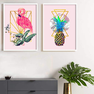 Flamingo & Pineapple Theme Set Of 2 Framed Canvas Art Print, Painting - 13 x 17 Inch