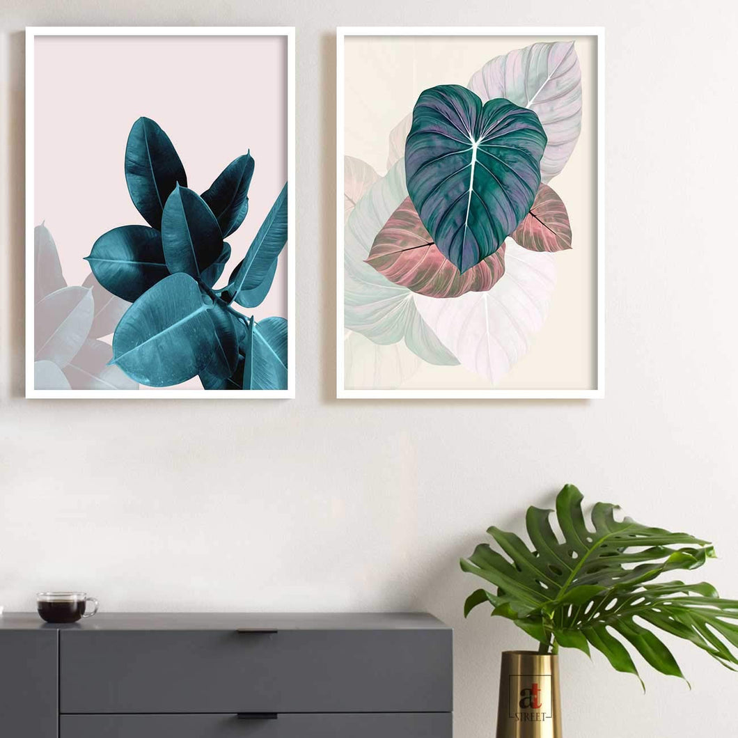 Floral Theme Set Of 2 Framed Canvas Art Print, Painting - 13 x 17 Inch