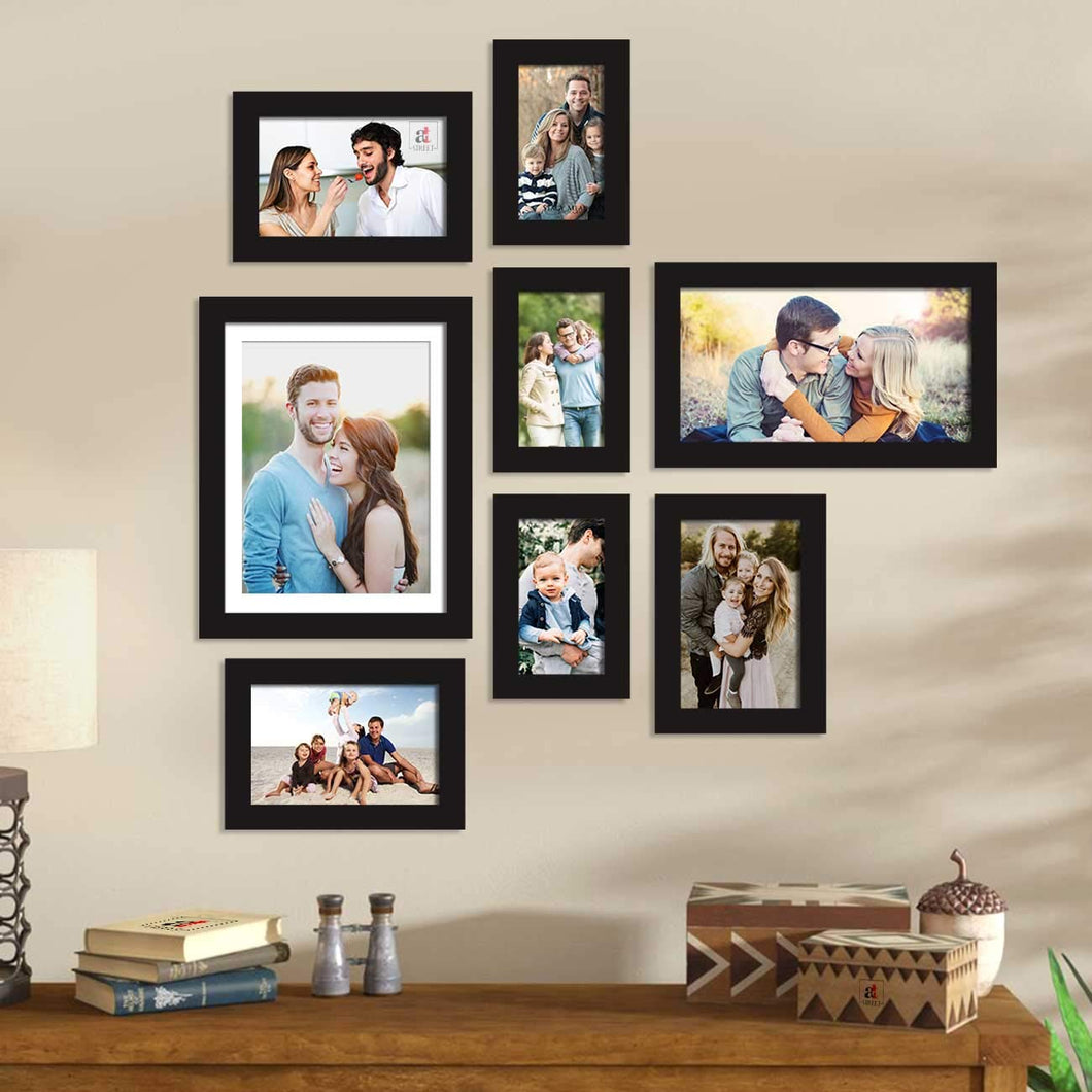 Set Of 8 Black Wall Photo Frame, For Home Decor With Free Hanging Accessories