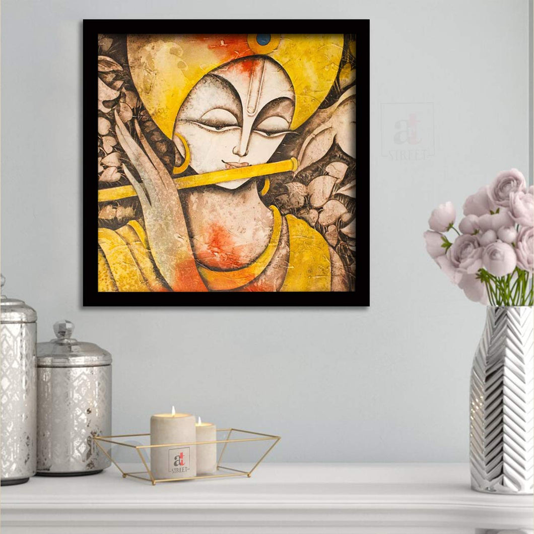 Artistic Krishana Framed Painting, 1 Framed Art Print For Wall Decor Size - 13 x 13 Inch