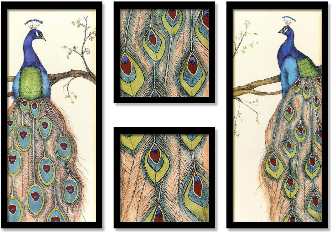 Beautiful Peacock Framed Painting / Posters for Room Decoration , Set of 4 Black Frame Art Prints / Posters for Living Room