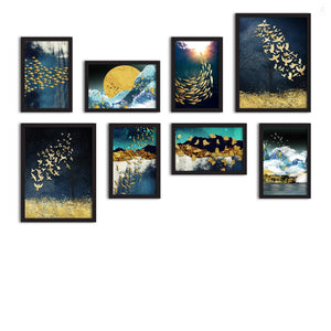 Set Of 8 Framed Poster Art Print -Ocean Galaxy -Multicolored, For Home & Office Decor