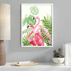 Art Pink Flamingo Framed Canvas Art Print, Painting - (Size - 13 X 17 Inch)