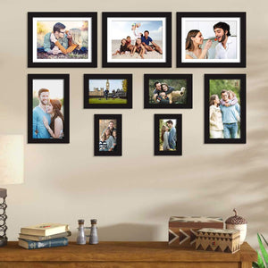 Set Of 9 Black Wall Photo Frame, For Home Decor With Free Hanging Accessories