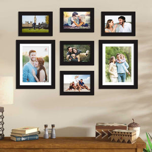 Set Of 7 Black Wall Photo Frame, For Home Decor With Free Hanging Accessories