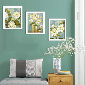 White Flower Set Of 3 White Framed Art Prints Size - 8 x 10 Inch
