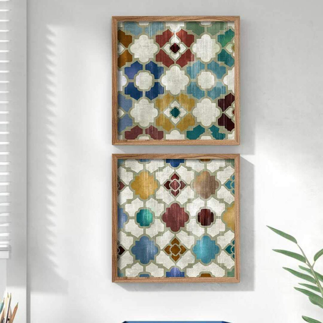 Geomatrical Abstract Theme Multicolored Framed Canvas Art Print, For Home & Office Decor