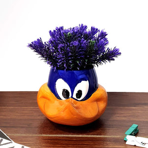 Purple Color Artificial Flower Plant With Cute Cartoon Vase, Perfect For Home & Office, Size - 6 x 7 Inch