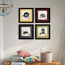 Load image into Gallery viewer, kitchen Set Of 4 Black Framed Art Prints Size - 9 x 9 Inch