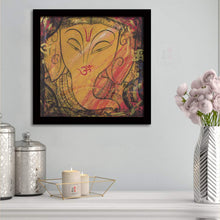 Load image into Gallery viewer, Shri Ganesh Ji Framed Painting, 1 Framed Art Print For Wall Decor Size - 13 x 13 Inch