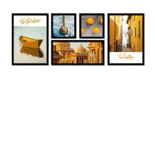 Load image into Gallery viewer, Set Of 5 Framed Poster Art Print -Travel Diaries -Multicolored, For Home & Office Decor