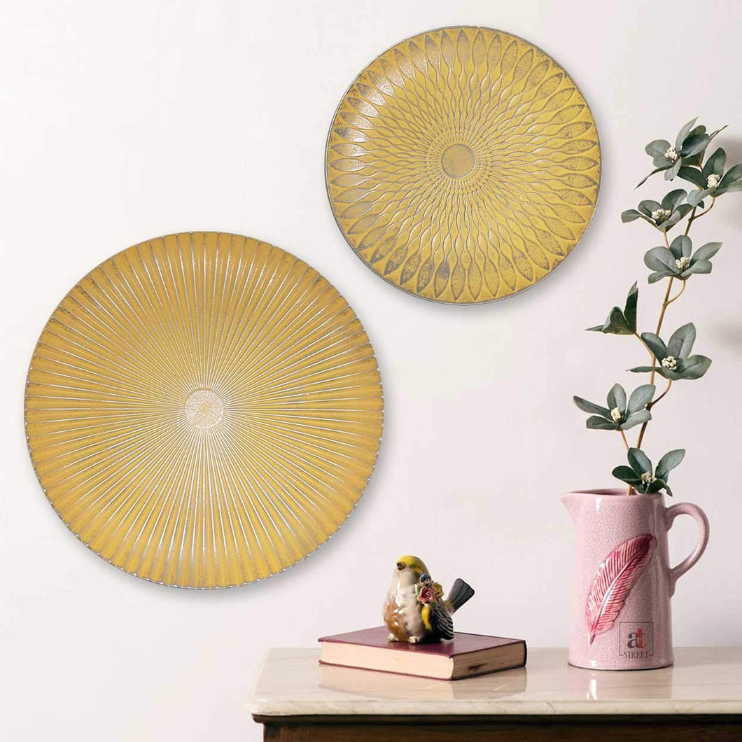 Silver Beige Color Set Of 2 MDF Decorative Wall Plates, For Home & Office - Size-11.5 x 11.5, 7.5 x 7.5 Inchs