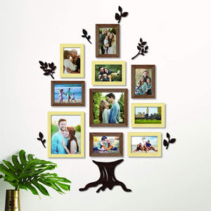 Family Tree Photo Frame Set of 10 Wall Photo Frame with MDF Plaque ,Color -Brown & Natural