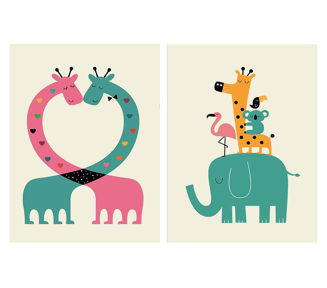 Cartoon Animal Theme 2 Poster Set For Kids Room Size - 12 x 16 Inch