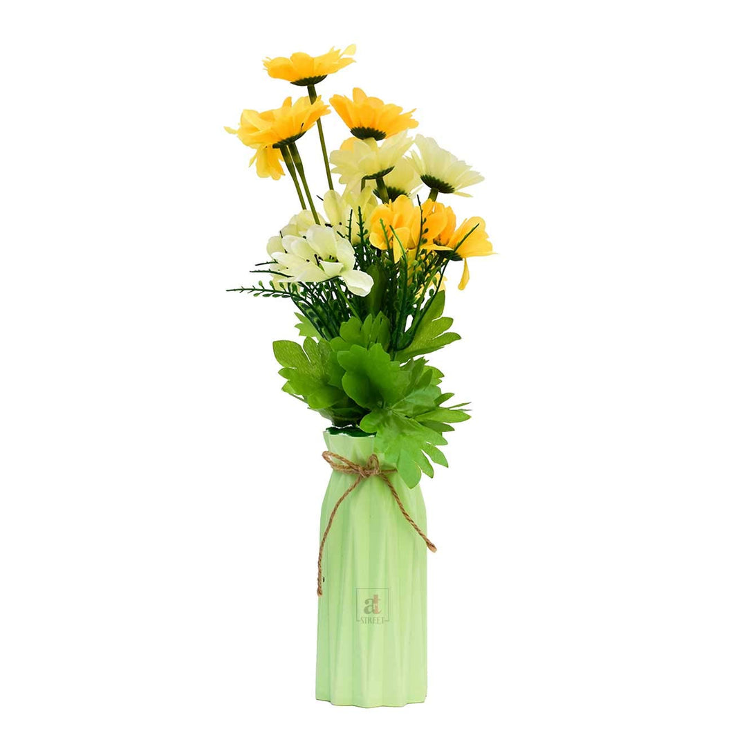 Yellow & White Multi Head Sunflower Flower Plant With Vase.