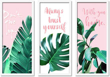 Load image into Gallery viewer, Motivational Floral's leaves Framed Painting / Posters for Room Decoration , Set of 3 White Frame Art Prints / Posters for Living Room